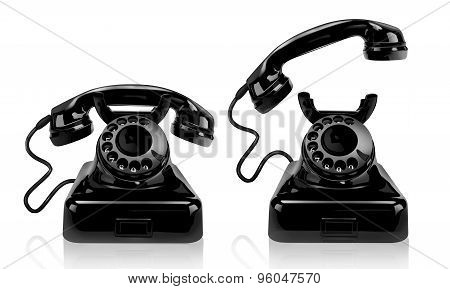 Black retro phone