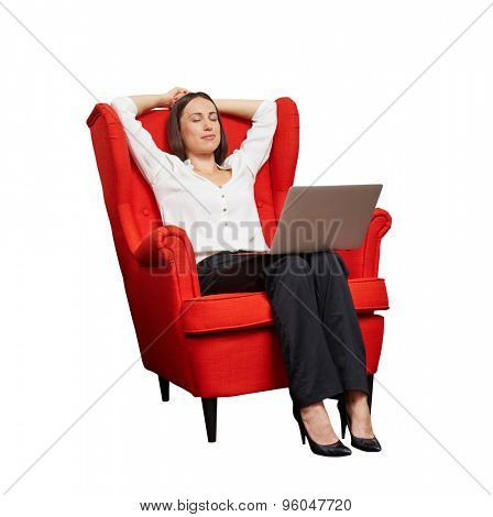 smiley businesswoman with laptop on the red chair resting. isolated on white background