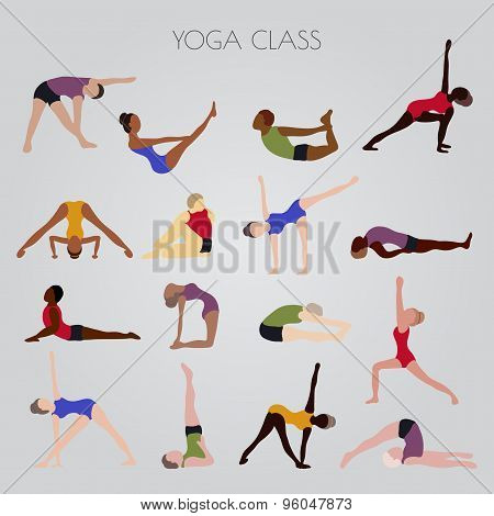 men and women practicing yoga. Set of yoga poses for design