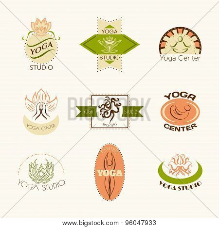 Set of logos for yoga studio or meditation class. Modern fitness badges collection made in vector. Y