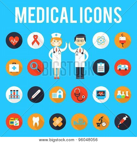 Medical tools and medical staff flat icons
