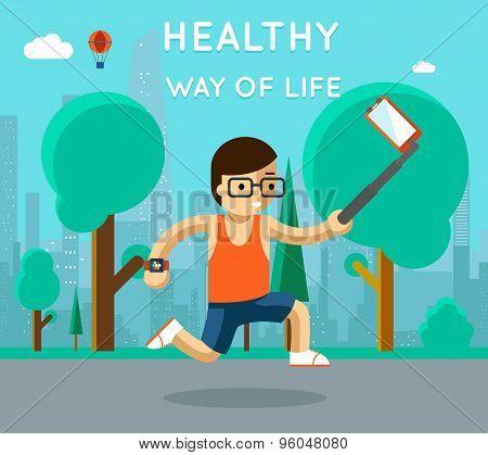 Healthy way of life. Sport monopod selfie in park