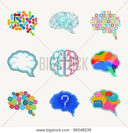 Brain, creation and idea vector icon set