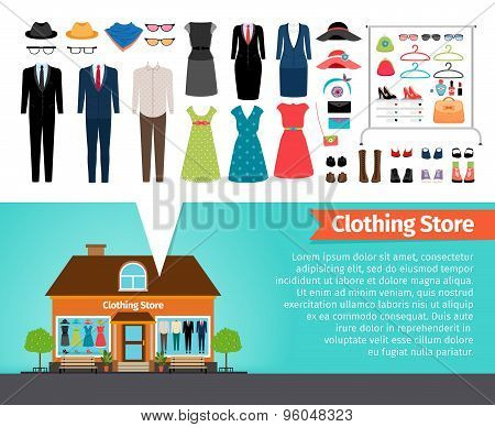 Clothing store. Set of clothes and building