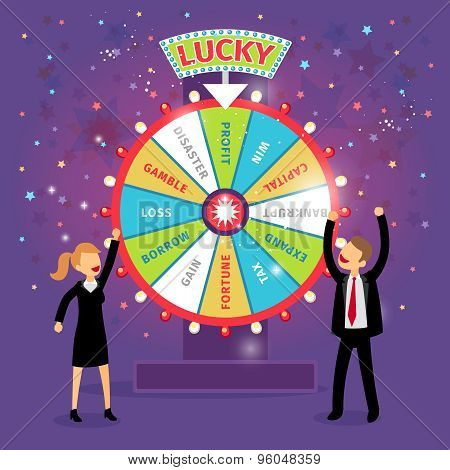 Vector financial wheel of fortune. Business concept