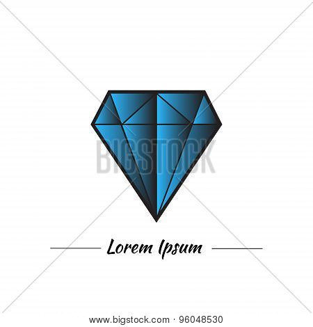 Blue diamond or topaz in graphic style