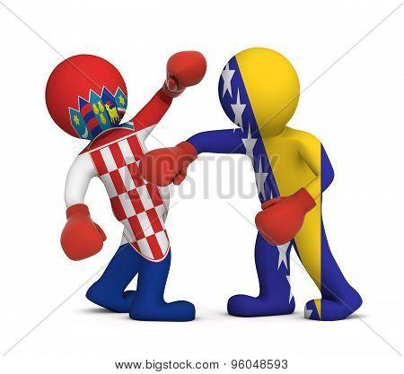 3d people boxing - Croatia against Bosnia and Herzegovina