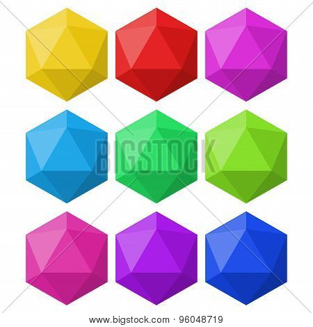 icosahedron in different colors for design and logos