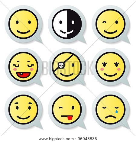 Vector happy face speech bubble