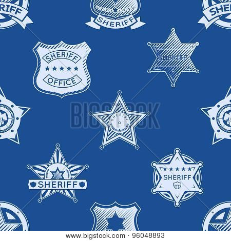 Sheriff badge seamless pattern