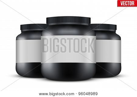 Mockup Background of Sport Nutrition Container. Whey Protein and Gainer.