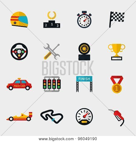 Race car track and racing flag modern flat icons