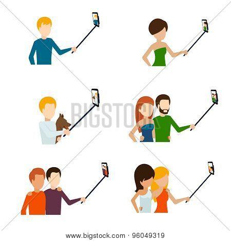 Monopod selfie flat icons