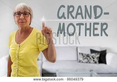 Grandmother Touchscreen Is Shown By Senior Woman