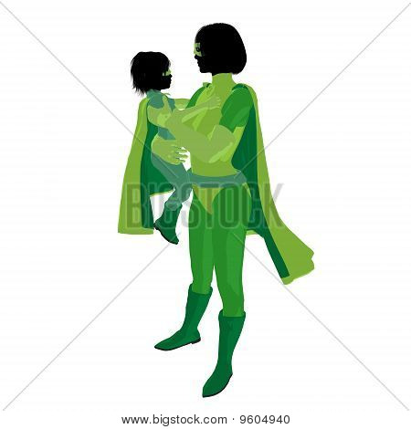 Super Hero Mom Illustration Silhouette
