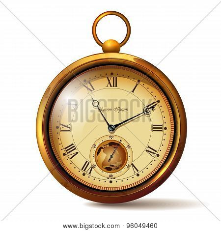 Gold vintage clock with roman numerals.