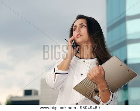 Business Woman In Formal Clothes Talking On The Phone