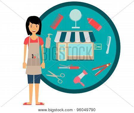 Girl hairdresser. Barbershop and tools. Vector illustration