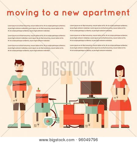 A man and a woman collect things for the move to a new apartment. Flat style vector illustration.