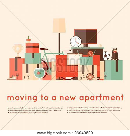 Moving into a new apartment. A bunch of things. Flat style vector illustration.