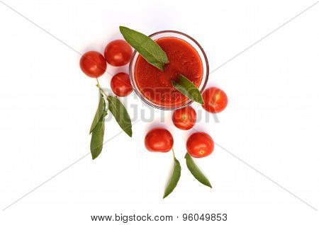 Glass Of Tomato Juice With Cherry Tomatoes