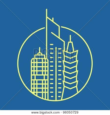 Urban logo template. City skyline and buildings. Vector illustration