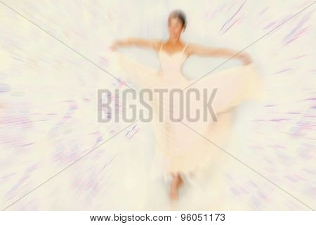 Abstract Background - Fashion Model On Catwalk - Radial Zoom Blur Effect Defocusing Filter Applied,