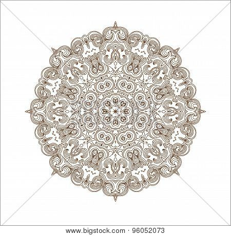 Ethnic round ornamental vector shape