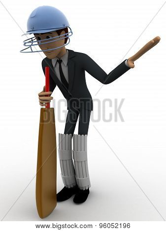 3D Man Cricket Batsman Asking To Wait By Showing Hand Concept