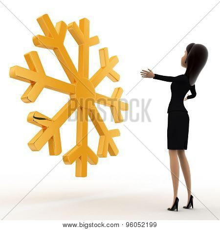 3D Woman Lookingat Golden Lucky Winter Symbol Concept