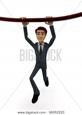3D Man Hanging On Rope With Both Hands Concept