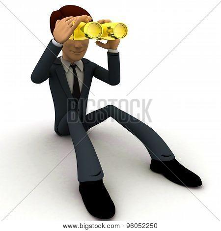 3D Man Looking Through Golden Binocular Concept