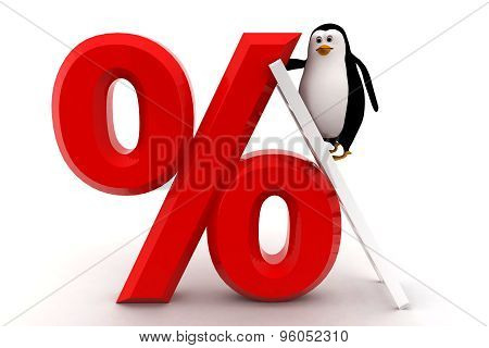 3D Penguin Climb Percentage Symbol With Ladder Concept