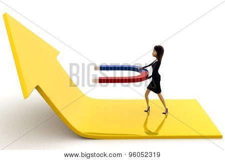 3D Woman Attract Arrow Up Side Using Magnet Concept
