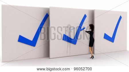 3D Woman With Three Corrected Big Board Concept