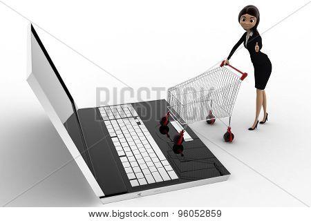 3D Woman Going For Online Shopping Through Laptop With Cart Concept