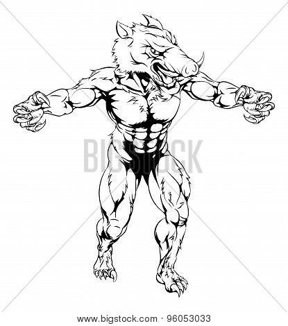 Boar Scary Sports Mascot