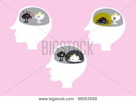 Brain Fighting Set Inside Head