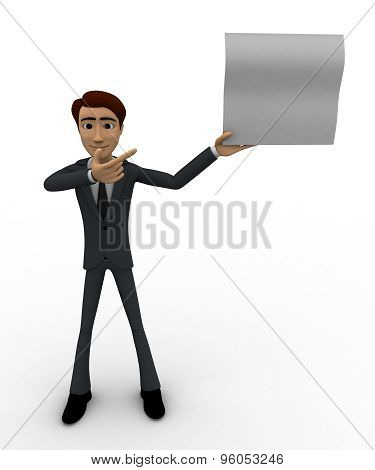 3D Man Showing Empty Paper In One Hand And Point With Another Hand Concept