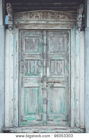 Grey Retro Style Wooden Door With Rusty Latch Background, Texture
