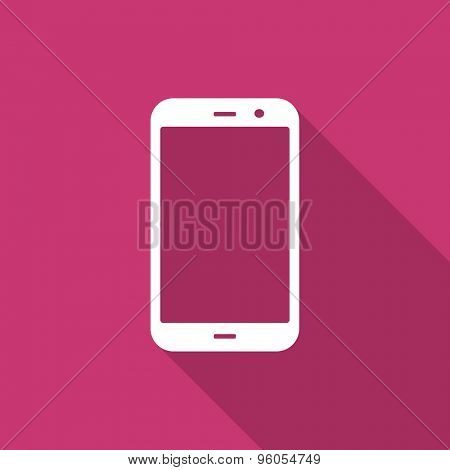 smartphone flat design modern icon with long shadow for web and mobile app