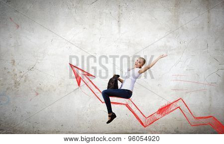 Concept of anti crisis with businesswoman that tames statistics diagram