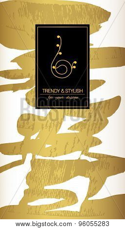 Gold card template or gift cards. Texture of gold foil. Luxury vector illustration. Space for  text.
