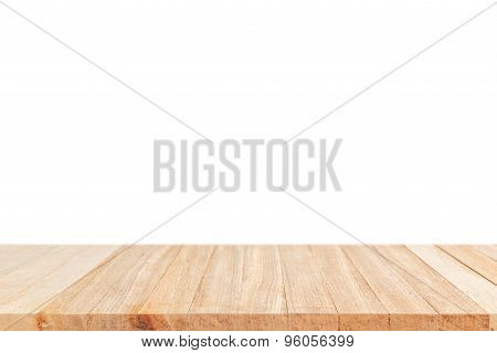 Empty Top Of Wooden Table Or Counter Isolated On White