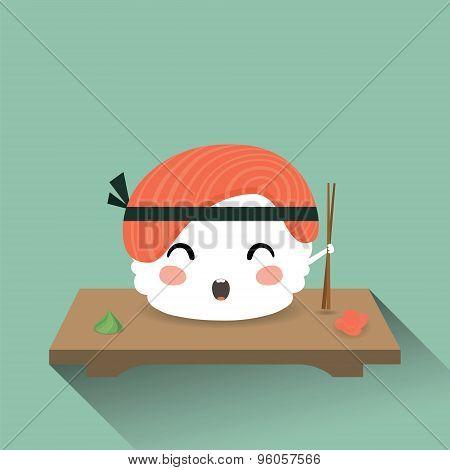 Cute cartoon sushi
