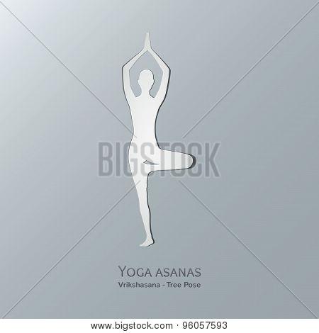 Yoga asanas. Vriksasana. Tree pose.
