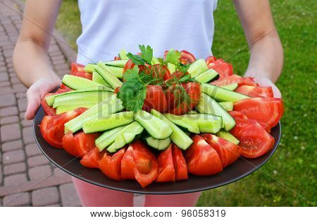 Plate of vegetables on the female hands