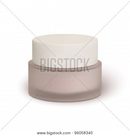 Cosmetic cream jar, isolated on white background.