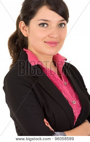 Hispanic woman in pink shirt and black blazer jacket sideways angle with arms crossed smiling hesita