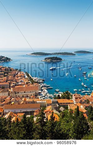 Beautiful View Of Old Harbor In Hvar Town, Croatia